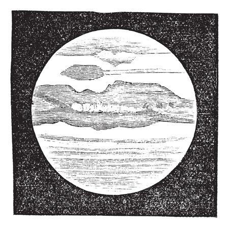 Planet Jupiter as viewed through a Telescope, vintage engraved illustration. Trousset encyclopedia (1886 - 1891). Ilustração