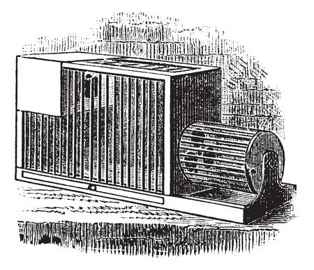 Rat cage, vintage engraving. Old engraved illustration of Rat cage. Ilustração