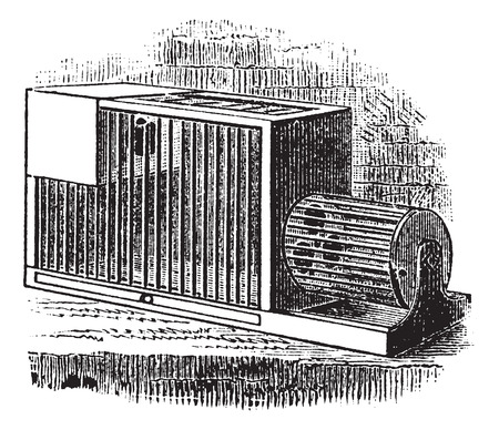 confinement: Rat cage, vintage engraving. Old engraved illustration of Rat cage. Illustration