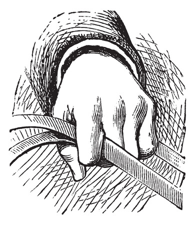 reins: How to hold the reins of horse in simple riding, vintage engraving. Old engraved illustration of a diagram of how to hold the reins of horse in simple riding with human hand.