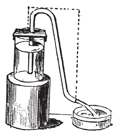 siphon: Siphon or syphon vintage engraving. Old engraved illustration of Siphon. Illustration