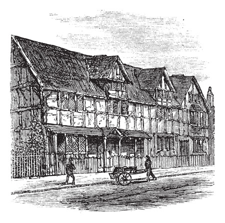 william shakespeare: Shakespeares Birthplace at Stratford-upon-Avon, vintage engraved illustration.