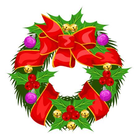 Christmas Wreath, vector illustration Çizim