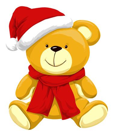 Christmas Teddy Bear with Santa Hat, vector illustration