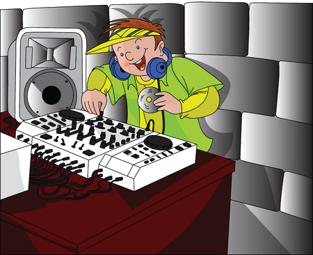 mixing: Vector illustration of happy dj wearing headphones and mixing music.