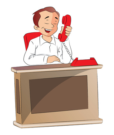 Vector illustration of tired businessman talking on telephone at office.