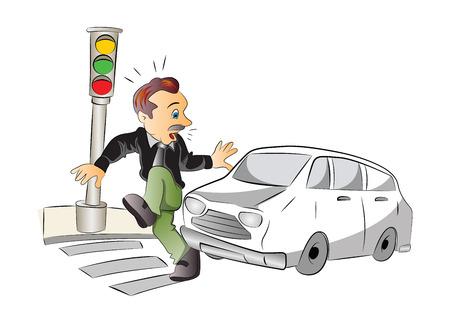 Seguridad Vial, hombre a punto de ser atropellado por un coche, ilustración vectorial