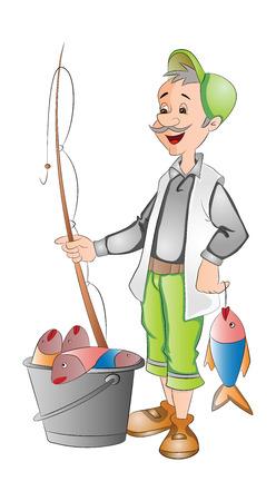 Fisherman with Fish Catch, vector illustration Illusztráció
