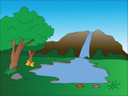 cascade mountains: Illustration of waterfall scenery.