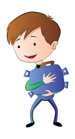 overflowing: Boy Hugging a Briefcase Full of Money, illustration
