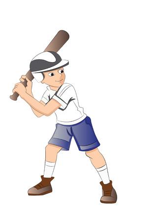 ballgame: Boy Playing Baseball, illustration