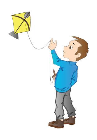 kiting: Boy Flying a Kite, illustration Illustration