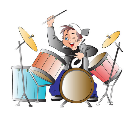 Boy Playing Drums, illustration