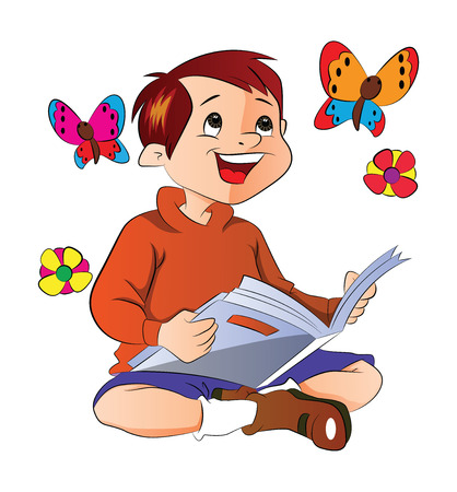 Boy Reading a Book About Flowers and Butterflies, illustration 向量圖像