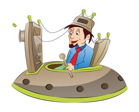Man Sitting on a Mind Control Chair,illustration Illustration