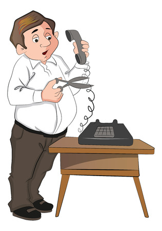 cutting costs: Vector illustration of a man cutting telephone cord with scissors. Illustration