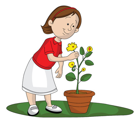plant stand: Vector illustration of girl picking up yellow flower from flower pot. Illustration