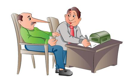 Man Making a False Statement, illustration