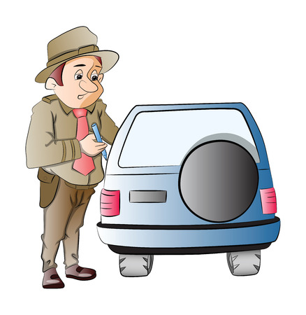 motorist: Highway Patrol Writing a Ticket to a Motorist, illustration Illustration