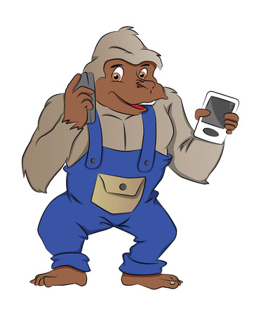 instinct: Gorilla with Gadgets, Using a Mobile Phone, illustration
