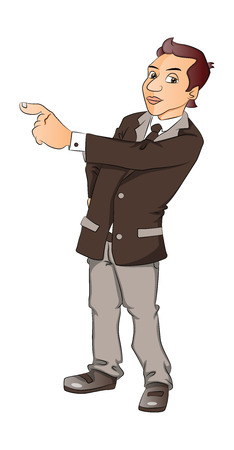 manager: Vector illustration of a serious businessman pointing, isolated on white background. Illustration