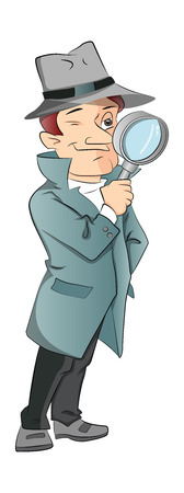 Vector illustration of curious male detective looking through magnifying glass, isolated on white background.