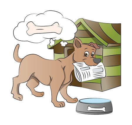 instinct: Dog Holding a Newspaper, Thinking of a Bone Reward, vector illustration Illustration