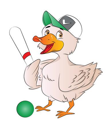 instinct: Duck Baseball Player with Cap Bat and Ball, vector illustration Illustration
