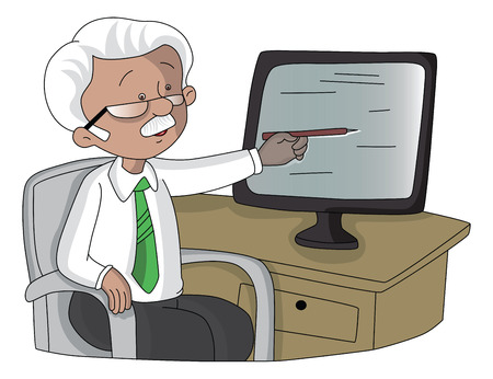 Vector illustration of senior businessman pointing towards the monitor screen.