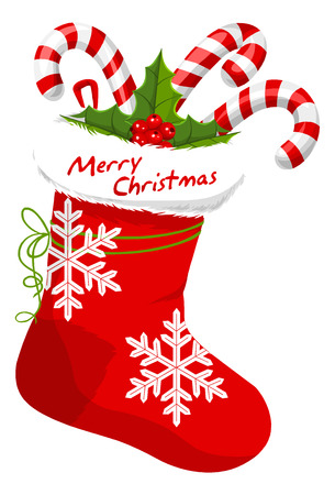 stuffed: Christmas Stocking Stuffed with Candy Canes, vector illustration