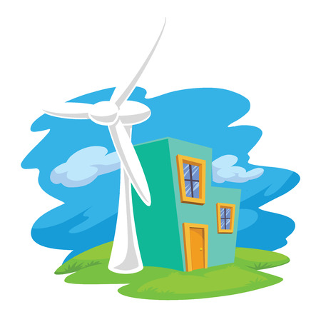 Vector illustration of wind turbine next to a residential building, renewable energy resource. Vettoriali