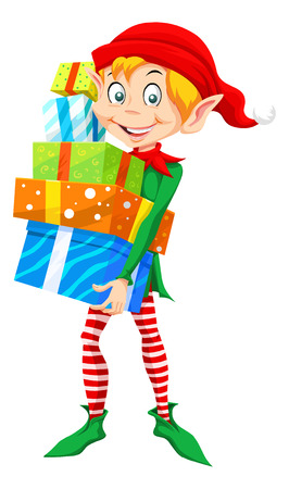 Christmas Elf Carrying a Stack of Christmas Presents, vector illustration