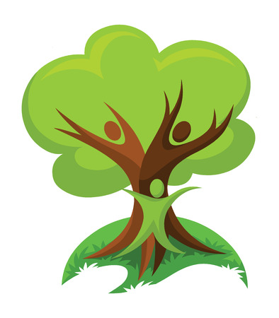 human representation: Vector illustration of save trees, think green concept.