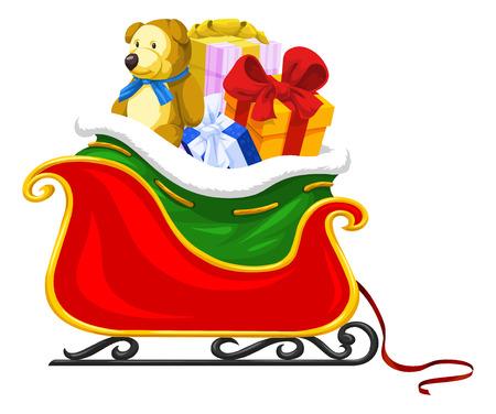 Santa's Sleigh Full of Christmas Presents, vector illustration