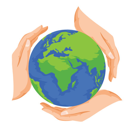 Vector illustration of hands protecting earth, save earth concept. Stock fotó - 37648114