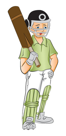 batsman: Vector illustration of young cricket batsman holding a bat, hand on hip. Illustration
