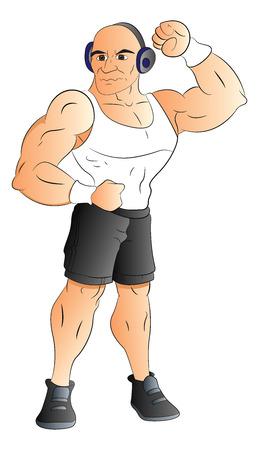 Vector illustration of muscular man listening to music on headphones. Ilustrace