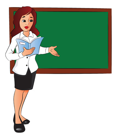 Vector illustration of businesswoman with a file, pointing at board in office.
