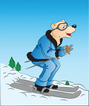 surprised dog: Vector illustration of surprised dog skiing. Illustration