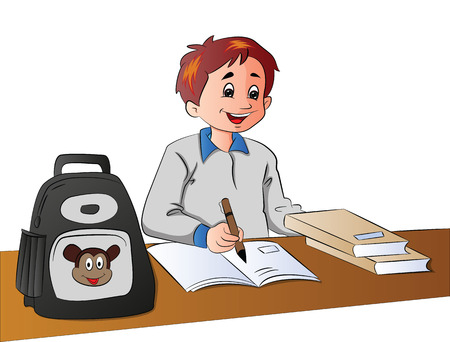 Vector illustration of happy schoolboy studying in classroom.