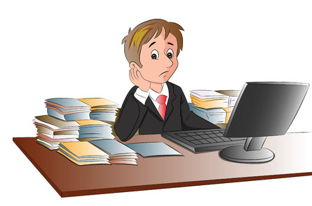 abundance: Vector illustration of unhappy businessmans desk with documents in abundance.