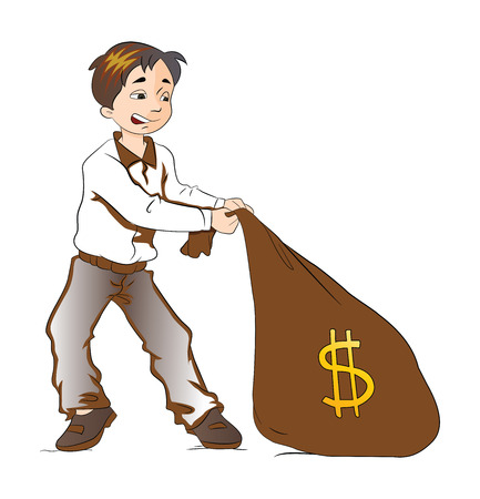 pulling money: Boy Pulling a Sack of Money, vector illustration