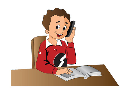 Boy Using a Cellphone, vector illustration