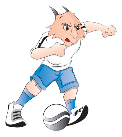 aggressive: Vector illustration of aggressive goat mascot playing with ball. Illustration