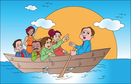 Vector illustration of business team travelling on boat. Vector