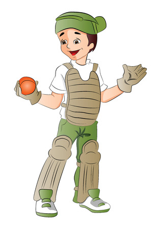 keeper: Vector illustration of happy baseball keeper holding a ball.