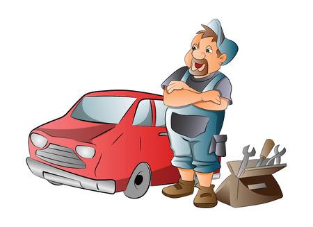 Automonteur Werken aan een rode auto, illustratie