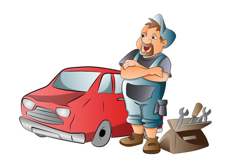 Car Mechanic Working on a Red Car, illustration