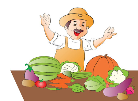 seller: Vector of happy vegetable seller waving.