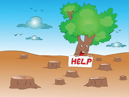 deforestation: Vector illustration of loan tree with help sign in forest.